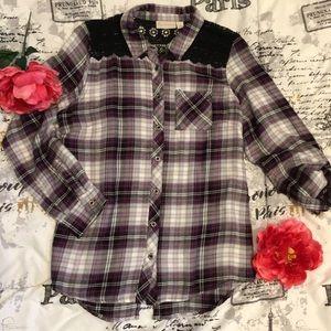 Plaid Lace Button Down Shirt Back Slit Medium